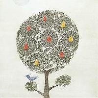 実のある木と鳥