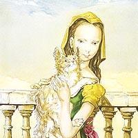 バルコニーの猫と少女