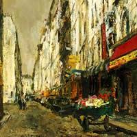 パリ花売り車のある街角